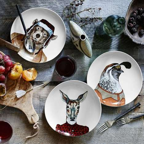 Sophisticated Animal Dishware - These Dapper Animal Plates are a Well-Dressed Addition to Any Party