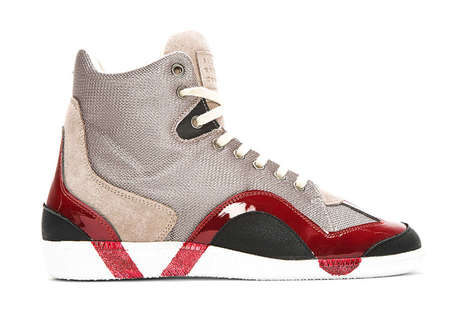 Paint-Themed Sneakers - The Maison Martin Margiela Grey Textured Painted Sneakers are Wavy