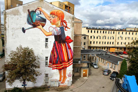 Huge Humanistic Wall Murals - Natalia Rak's Vibrant Street Art is Larger Than Life