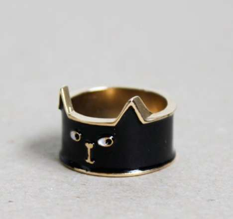 Halloween Black Cat Ring