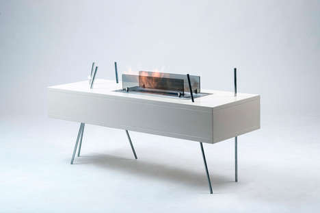 Hybrid Fireplace-Tables - Gor is a Sleek & Modern Two-in-One Fireplace and Coffee Table