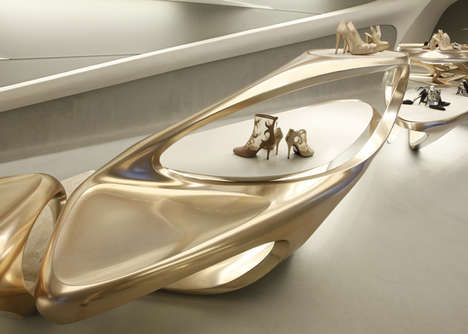 Fabulously Futuristic Boutiques - The Stuart Weitzman Boutique Aesthetic is Futuristic Minimalist