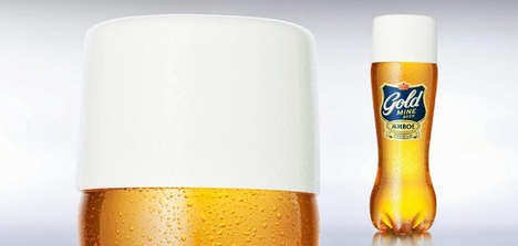 Plastic Pint-Like Packaging - Gold Mine Beer Branding Serves Up the Bar Experience Wherever You Are