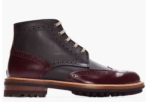 Multi- Leather Perforated Kicks - These High-Top Leather Shoes are Perfect for Fall
