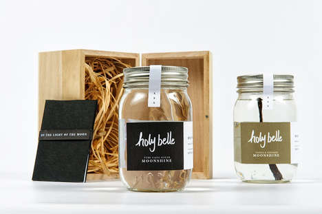 Elegant Jam Jar Branding - Holy Belle Moonshine Packaging Has a Lovely Crafted Quality About it
