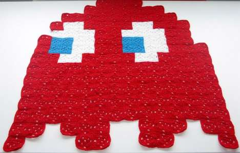 Gamer Ghost Quilts - The Pac-Man Crochet Blanket Lets You Bring Blinky to Bed