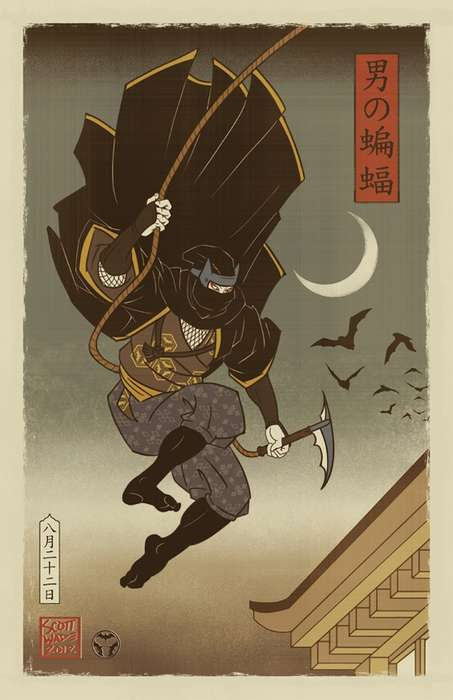 Reimagined Japanese Superhero Art - Scott Wade's Japanese Batman is Painted Using Woodblock Pa