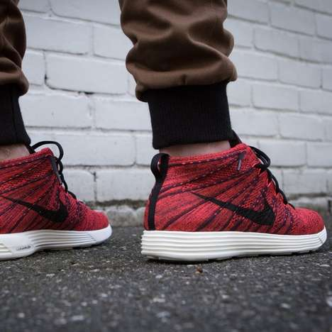 Stylish Oxblood Running Kicks - These Nike Lunar Flyknit Chukkas Blend Running with Streetwear
