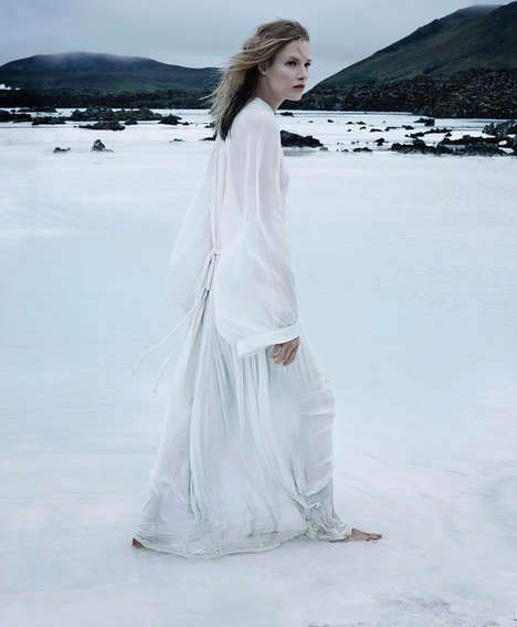 Ice Princess Fashion Gowns - Suvi Koponen Dresses Elegantly for the Arctic
