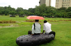 Inflatable Rain-Soaking Benches - The Water Bench Manipulates the Rain to Inflate the Public Chair