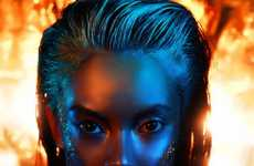 Blazing Beauty Editorials - The Ring of Fire Story for Make Up Trendy Magazine Heats Up