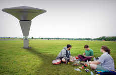 Picnic-Improving Contraptions - W.E.T. Beacon Improves Park Atmospheres by Harnessing Sun and Rain