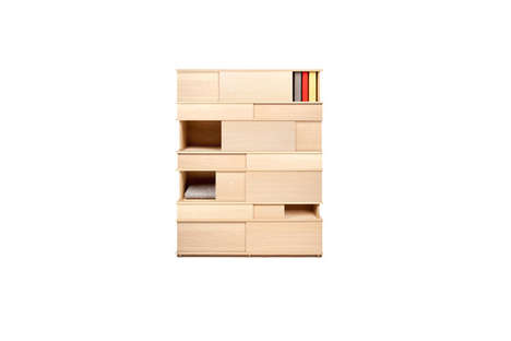 Mod Block Game Cabinetry - This Cupboard Houses Cubbies that Alternatingly Conceal and Reveal