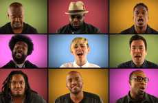 Acapella Pop Star Videos - Miley Cyrus and Jimmy Fallon Perform A Late-Night 'We Can't Stop' Cover