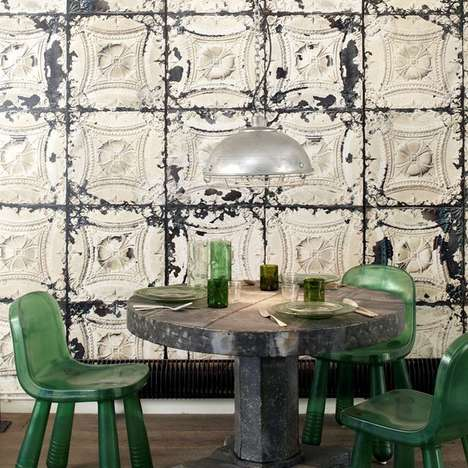 Antiquated Vintage Wallpaper - The Brooklyn Tin Wallpaper by NLXL Welcomes Guests With a Classy Vibe
