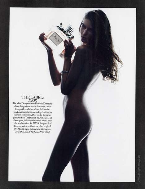Skin-Baring Fragrance Editorials - Auguste Abeliunaite Strips Down for Marie Claire UK 2013