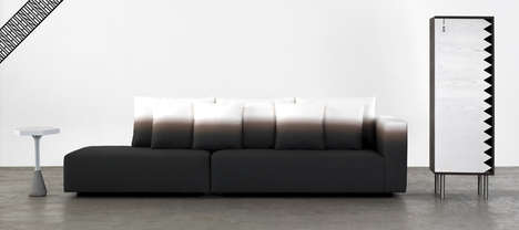 Horizon Line Loungers - The Panorama Sofa Expresses a Serene Atmospheric Effect with its Color