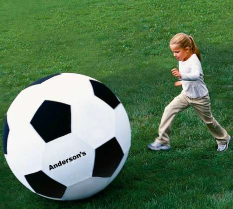 Gigantic Inflatable Sports Equipment - Keep Track of Your Gear with the Personalized Soccer Ball