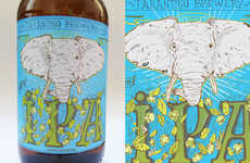 Psychedelic Booze Branding - Tarantino Beer Packaging Gets Groovy With the Image of an Elephant