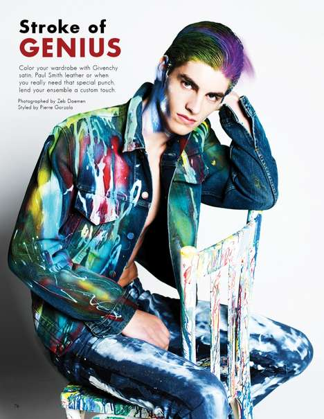 Paint-Splashed Menswear Portraits - The Stroke of Genius Fashionisto Editorial is Couture-Clad