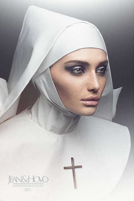 High-Fashion Nun Photography - The Il Desiderio Segreto Image Series by Jean Osipyan is Religious
