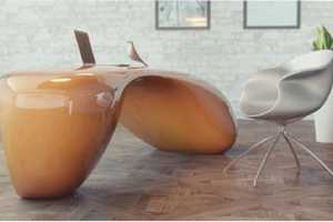 The Evfyra Table Looks Like Fluid Frozen in a Smooth and Abstract Form