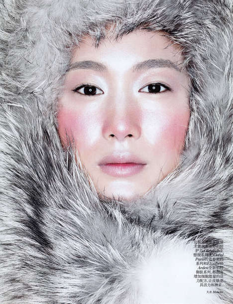 Eskimo-inspired Beauty Editorials - The Count on Me Vogue China Image Series is Fur-Clad