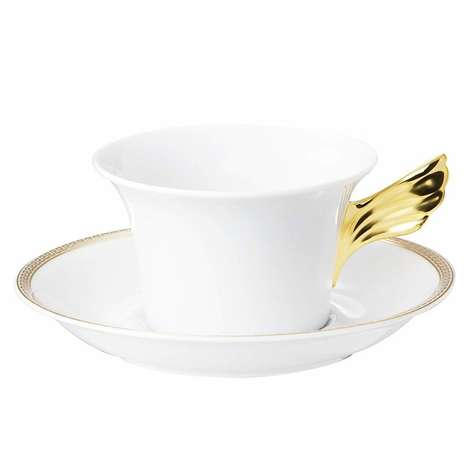 Gold Winged Tea Cups - The Versace Coffee Cup Features a Fresh and Elegant Design With Gold Finishes