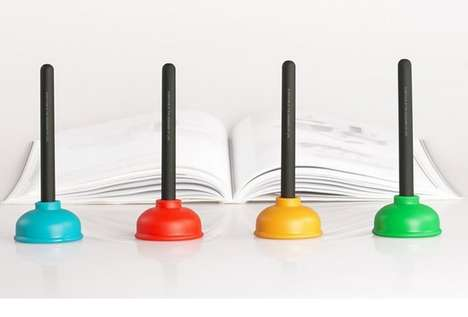 Plumbing-Themed Stationary - The Plunger Sucker Pen Holder Colors Bring Potty Humor to the Office