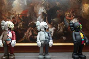 This Exhibit Features Pop Art Sculptures and Paintings Beside Fine Art