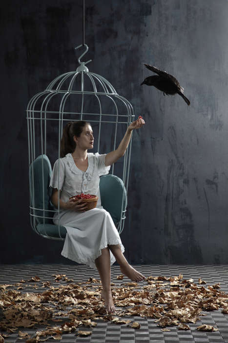 suspended bird cage