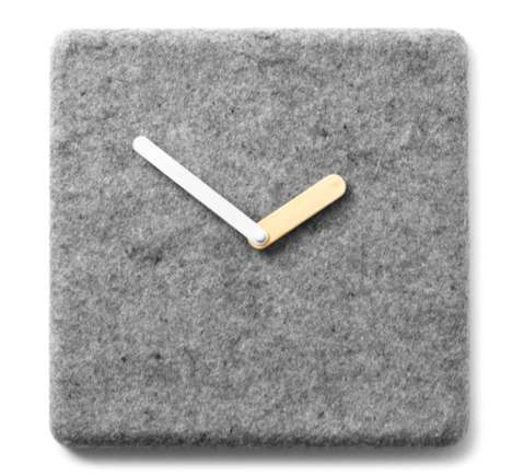 Minimalist Soft Surface Timepieces - This Felt Panel Clock is a Cozy Way to Tell the Time