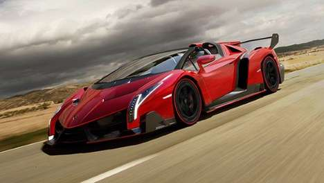 Horned Animal-Inspired Supercars - The Fiery Red Lamborghini Veneno Roadster Takes Cues from Bulls