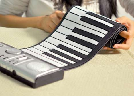 Portable Foldable Instruments - Play Music Anywhere You Go with the Roll-Up Electronic Keyboard