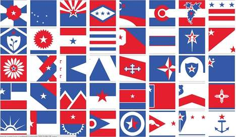 Simplified State Flag Makeovers - The Bresslergroup Gives the US State Flags Patriotic New Looks