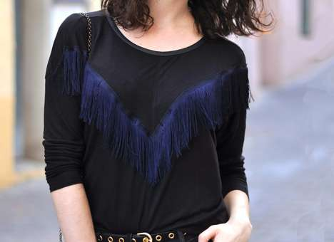 DIY Fringe Shirt Accents - Turn an Ordinary Top into a Chic Frilly Ensemble with This Simple Guide