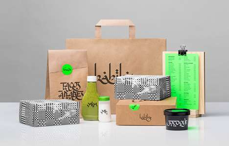 Electric Arabic Branding - The Packaging for 'Habibis' Represents Its Eclectic Fusion Food