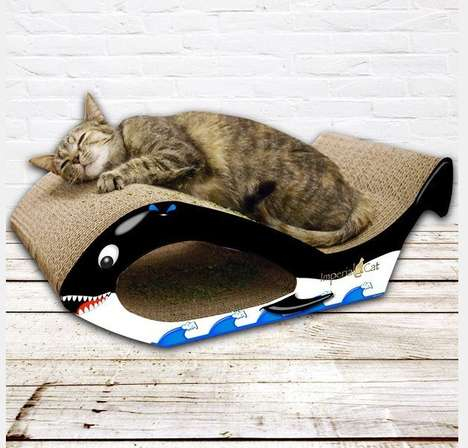 Whale-Shaped Cat Scratchers - A Whale Cat Scratcher is an Ironic Bed for a Feline