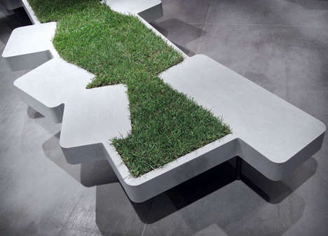 Eco-Friendly Turf Seating - This Grass Bench Will Remind You of Family Picnics