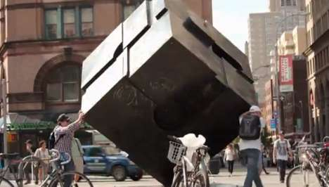 Art-Inhabiting Prankvertisements - The Man in a Cube Stunt is a Subtle Ad for a Meditation Program