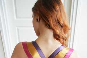 Add Colorful Ribbons to a Strapless Gown with This Simple DIY Activity