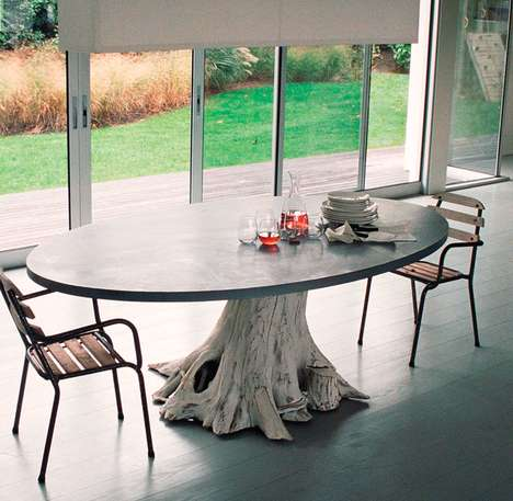 Tree Trunk Tables - The Mineral and Mighty Dining Table is Full of Whimsy