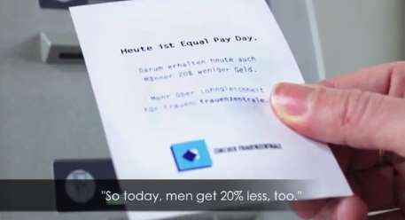 Financial Equality-Promoting ATMs - This ATM Withholds Funds for Men to Demonstrate Wage Inequality