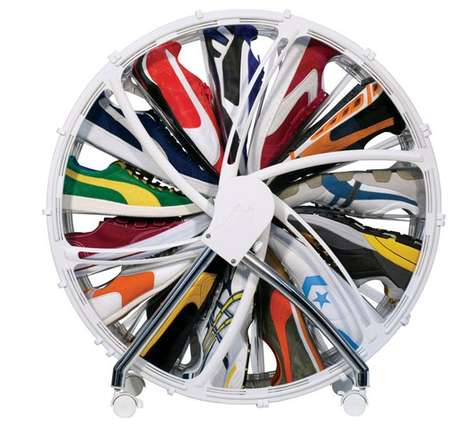 Hamster Wheel Shoe Cabinets - A Spinning Shoe Cabinet Makes Your Shoes Easily Accessible
