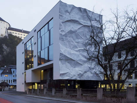 Crinkle-Inspired Wall Designs - This School Extension Speaks Metaphors About Testing Ideas