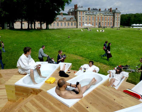 Communal Outdoor Bathrooms - Chamarande-les-Bains is an Interactive Installation of Many Public Tubs