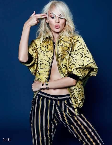 Playful Platinum Photography - Swanepoel Rocked Bright Colors for the December Issue of Elle