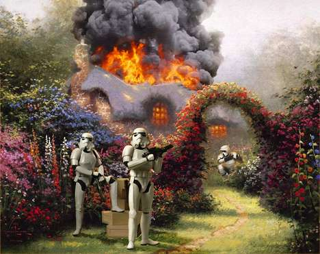 Galactic Disaster-Infused Art - Star Wars Characters Take Over Kinkade