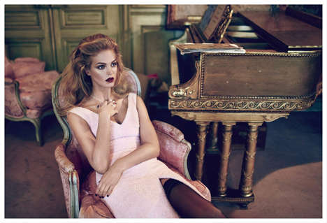 Opulent Boudoir Editorials - The ELLE Russia December 2013 Cover Shoot Stars Erin Heatherton