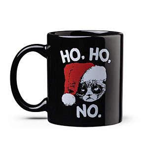 Bad-Tempered Kitty Holiday Mugs - This Grumpy Cat Christmas Mug Says Ho Ho No to the Holidays